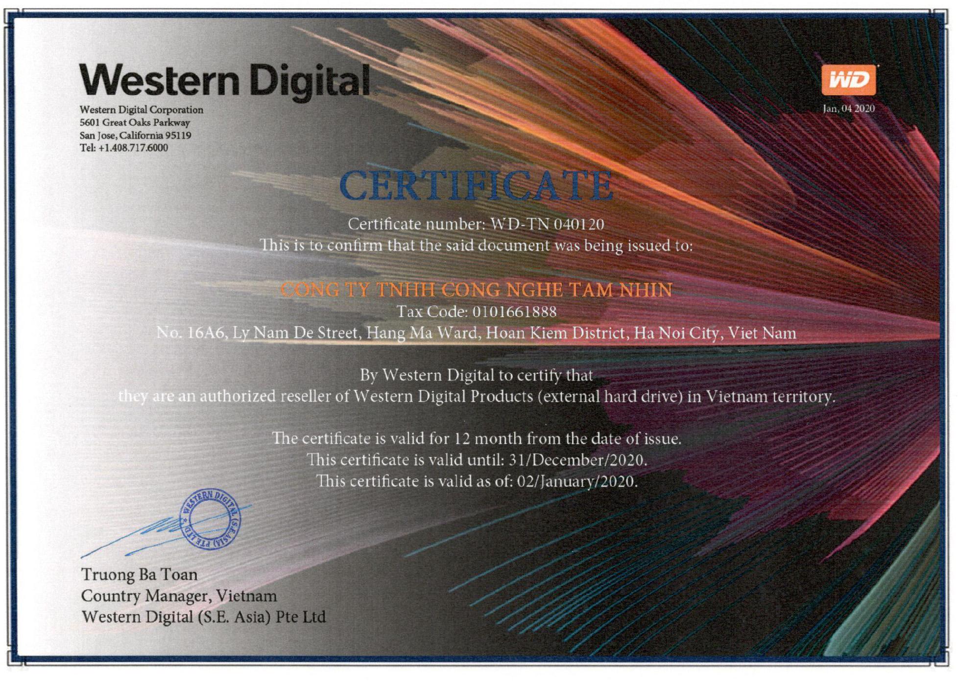 Western Digital xác nhận đại lý ủy quyền