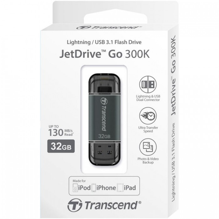 USB Lightning Transcend JetDrive Go 300 32GB (Đen) - TS32GJDG300K cho iPhone, iPad