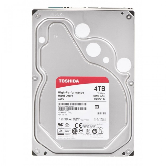 "Ổ cứng Toshiba Internal 3.5"" 4TB Performance X300 series (128MB) 7200rpm SATA3 (6Gb/s)_HDWE140UZSVA"