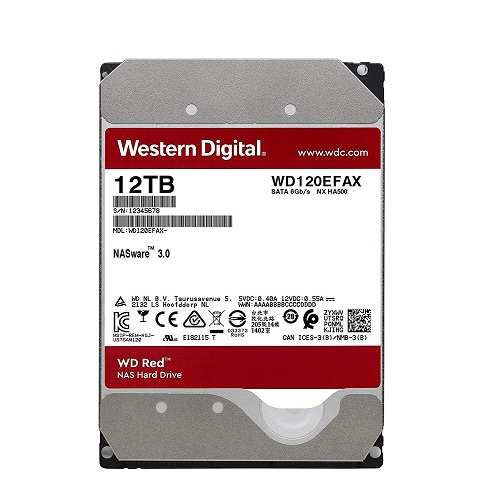 Ổ cứng gắn trong DESKTOP WD Red 12TB, 3.5, SATA 3, 256MB Cache, 5400RPM, 3Y WTY_WD120EFAX