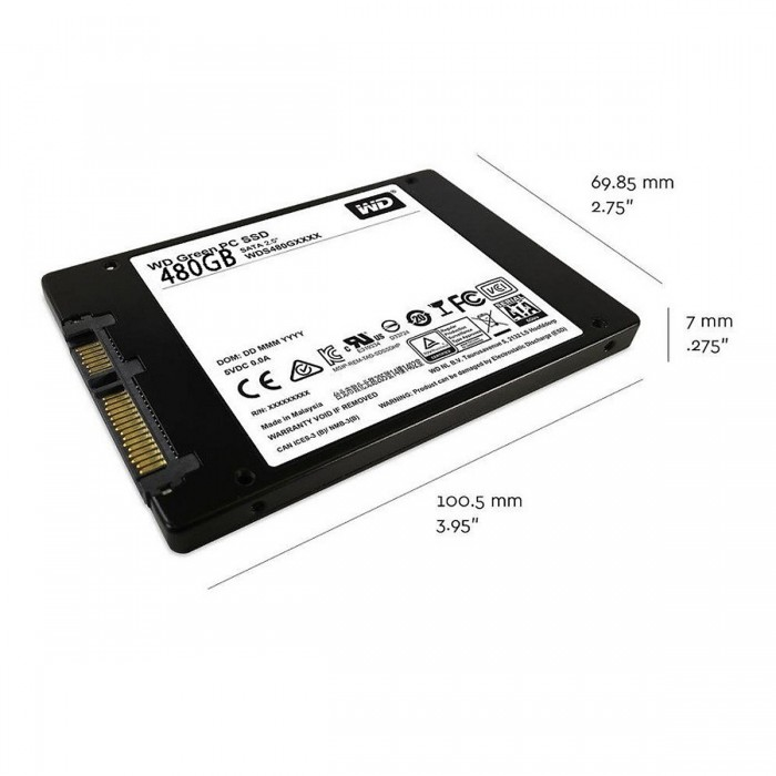 Ổ cứng gắn trong WD Green SSD 480GB 2.5, 5MM, Sata3, Read up to 540MB, Write up to 450MB, up to 37K 63K IOPS, 3Y WTY_WDS480G2G0A