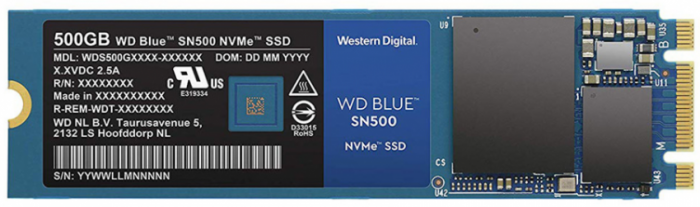 Ổ cứng gắn trong WD Blue SSD 500GB SN500 M2 2280 NVMe, Read up to 1700MB, Write up to 1450MB, up to 275K 300K IOPS, 5Y WTY_WDS500G1B0C
