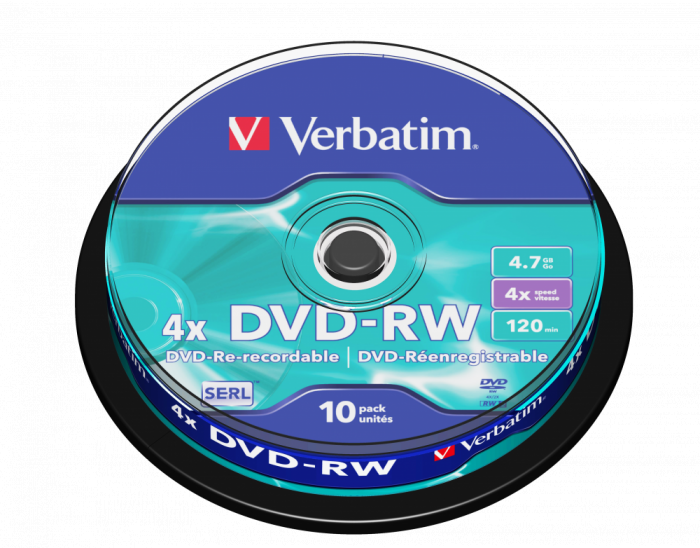 Đĩa Verbatim DVD-RW 4.74.7GB 10pk Spindle 4x Branded Rewritable Media Disc DVD 43552