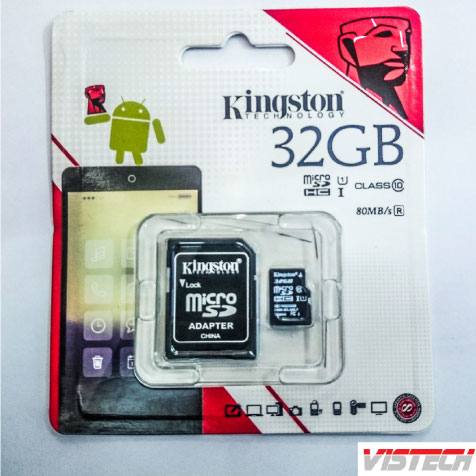 Thẻ nhớ Micro Kingston 32GB Class 10 80MB/s kèm Adapter